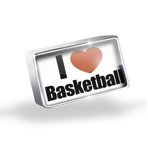 Floating Charm I Love basketball Fits Glass Lockets, Neonblond