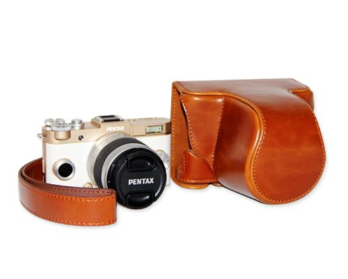 DSstyles Retro PU Leather Camera Case Bag Cover for Pentax QS1 Q-S1 Digital Camera 5-15mm Lens with Strap - Brown