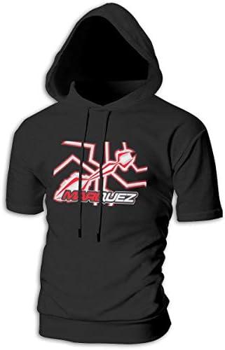 Tシャツ シャツ ティーシャツ スウェットシャツ パーカー ストレッチ メンズ 半袖 フード付き マルク マルケス スポーツtシャツ 吸汗速乾 トレーニング ジムtシャツ 通気性 黒