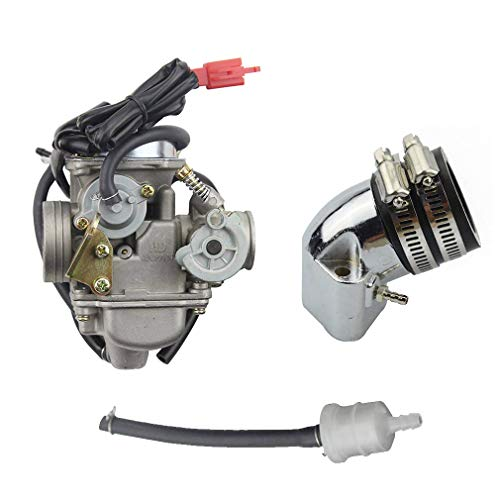 GOOFIT 4 Stroke PD24J Carburetor with Intake Manifold Pipe for GY6 125cc 150cc 152QMI 157QMJ 1P57QMJ ATV Scooter ()