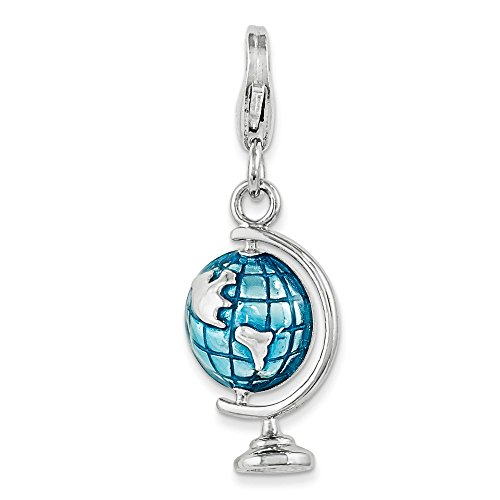 925 Sterling Silver Enameled Globe Lobster Clasp Pendant Charm Necklace Travel Transportation Fine Jewelry Gifts For Women For Her