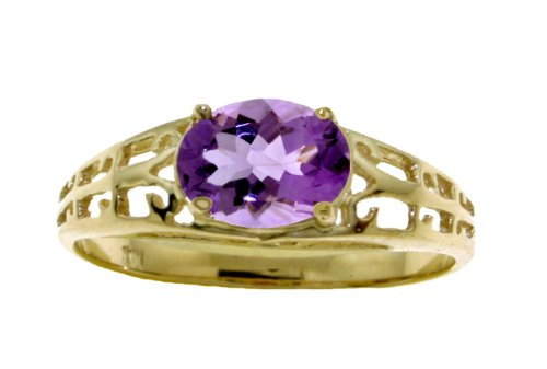 Galaxy Gold 14k Solid Gold Filigree Ring with Natural Amethyst - Size 6