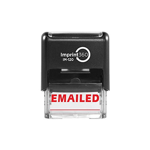 Imprint 360 AS-IMP1032 - EMAILED w/Signature Line, Heavy Duty Commerical Quality Self-Inking Rubber Stamp, Red Ink, 9/16' x 1-1/2' Impression Size, Laser Engraved for Clean, Precise Imprints
