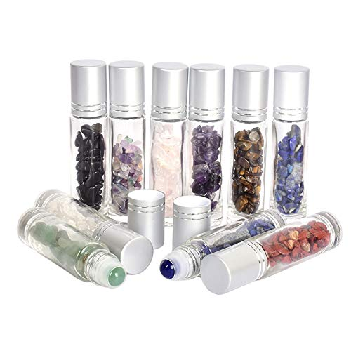 Gemstone Roller Bottles With Healing Crystal Chips,10ml 10 Pcs Essential Oil Roller Bottles Clear Glass Roll On Bottles With Gemstone Roller Balls ()