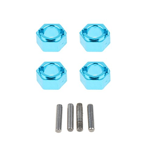 (Prettyia Set of 4 Wheel Hub Hex Compatible for WLtoys A959 A979 1/18 Scale Blue)
