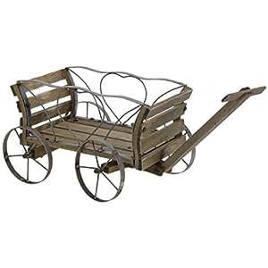 Carrito de madera decorativo carrito jard n carro carro for Carritos de madera para jardin