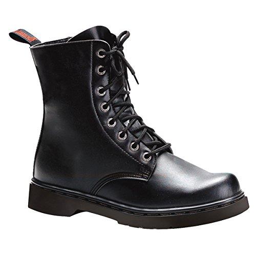 Summitfashions Mens Combat Boots Lace Up Nero Vegan Stivali Di Pelle Tacchi Da 1 Pollice Mens Dimensionamento