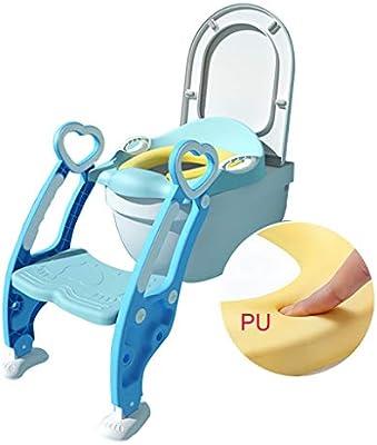 QFbp Plegable Inodoro para Niños Escalera De Entrenamiento,Tapa Acolchada De PU Suave Se Puede Usar De 1 A 7 Años Azul Rosado: Amazon.es: Hogar