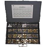 NEF Brass Air Brake Fitting Assortment, 108 Piece Kit, 24 Hole Metal Storage Bin