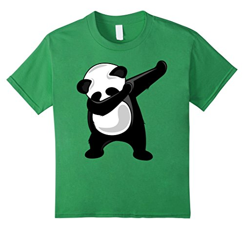 Dancing Bear Green - Kids Dabbing Panda T-Shirt - Giant Panda Bear Dab Dance Tee Shirt 8 Grass