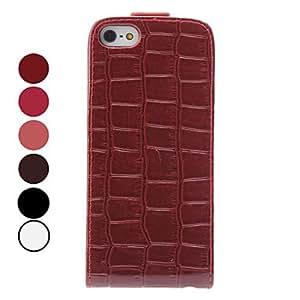 ZXM- Grano del cocodrilo del diseño plegable funda de cuero de la PU para el iphone 5/5s (colores surtidos)
