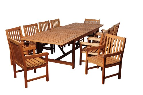 Amazonia SC Ley_10BT364 Cleveland 11 Piece Eucalyptus Extendable Rectangular Dining Set - Amazonia Eucalyptus Collection 10 armchairs 23L x 19.5W x 35H, 1 extendable rectangular table 79L x 42W x 29H; Extendable length 118 High Quality Eucalyptus Wood (Eucalyptus Grandis) - patio-furniture, dining-sets-patio-funiture, patio - 41NM7N GYML -