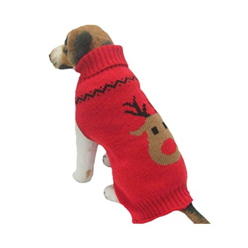 Farjing Dog Clothes,Pet Winter Woolen Sweater Knitwear Puppy Clothing Warm Deer Head High Collar Coat(S,Red)]()