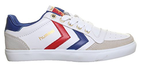 Hummel Stadil Low, Unisex-Erwachsene Sneaker, Leder Lace Up Running, Weiß - Weiß / Blau - Größe: 36 2/3 EU