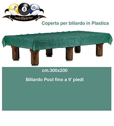 grandeemporio Biliardo coperta impermeabile in plastica per tavolo biliardo pool, fino a 9 piedi, colore verde, misure cm.300x200