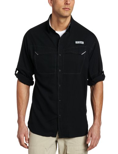 Columbia Mens Low Drag Offshore Long Sleeve Shirt, Small, Black