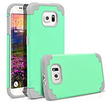 Galaxy S6 Edge Case, MagicMobile® Hybrid Ultra Protective Thin Armor Case For Samsung Galaxy S6 Edge Shockproof Skin Hard Dual Cover High Impact Case for Galaxy S6 Edge (2015)[Mint Green / Light Gray]