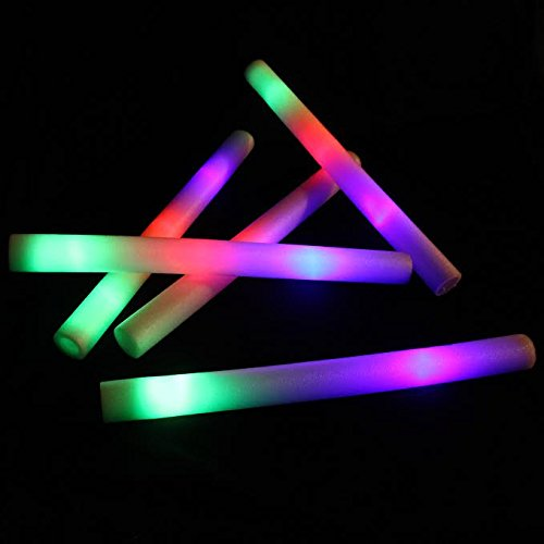 LED Flashing Batons 12 pack - 18 inch Foam Strobe Light Sticks Party Favors - Kids Flickering LED Glow Sticks - Multicolor Changing Effect Foam Baton Set of 12 for Kids Raving Party Events