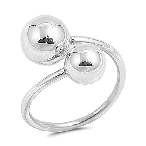 Noureda Sterling Silver High Polished Double Sphere Ring, Face Height of 18MM