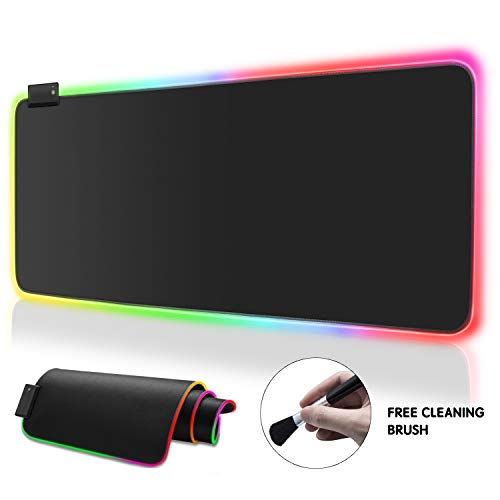 Price comparison product image RGB Soft Gaming Mouse Pad Large,  Oversized Glowing Led Extended Mousepad,  Non-Slip Rubber Base Computer Keyboard Pad Mat,  14 Lighting Modes for Gamer(Free Reusable Brush)