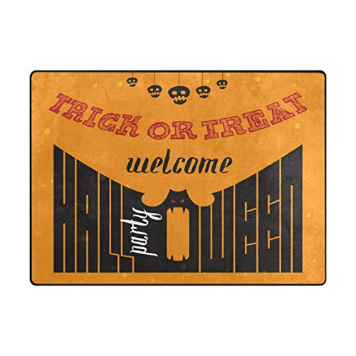 SUABO Halloween Area Rug 80 x 58 inches Non-Slip Floor Mat with Welcome to Halloween Party Printed Doormats -