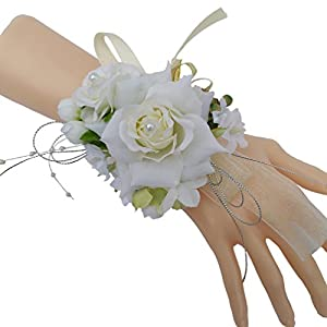Steen Pack of 1- Bridesmaid Bridal Wrist Corsage Wedding Party Artificial Flower - Hand Flower Decor 60