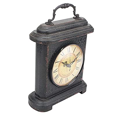 Stonebriar Rustic Industrial Metal and Wood Table Top Clock with Handle, Vintage Antique Home Decor Accents for The Mantel, Shelf, or Any Table Top, Battery Operated