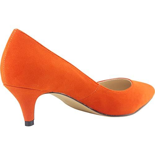 Confort Femme Talons Suédé Moyen Cm Escarpins Wealsex Orange 6 v0Bq4Yqw