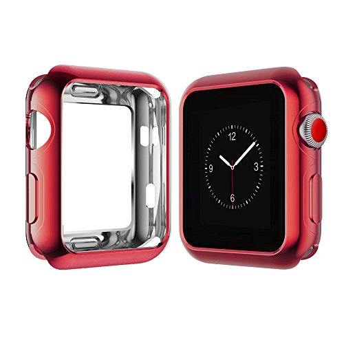 Apple Watch Case for Series 3, Series 2, Series 1 38mm 42mm, Icesnail Apple Watch Plate Soft Slim Protective Cover Bumper for iWatch Nike+, Sport, Edition All Models, 38mm Red