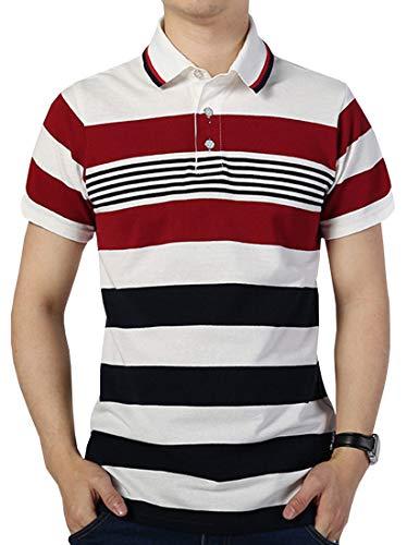 FRTCV Mens Polo Shirts Casual Long Sleeve Slim Fit Shirts US L/Asian 3XL Stripe H06D