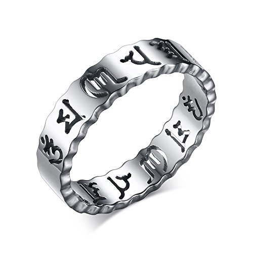 XUANPAI 5MM Stainless Steel Buddhist Six Word Mantra Hollow Out Ring for Men Women,Silver,Size (Buddhist Symbol Ring)