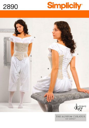 Simplicity The Museum Curator Kay Gnagey Pattern 2890 Misses Drawers, Chemise and Corset Sizes 16-18-20-22-24