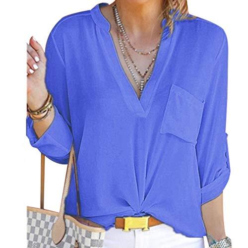 Donna V in Maniche da Sexy 5XL Camicetta S Juleya a Lunga Casual Scollo Lunghe Manica Blu Camicia con Chiffon a Top a OYwS45qz4