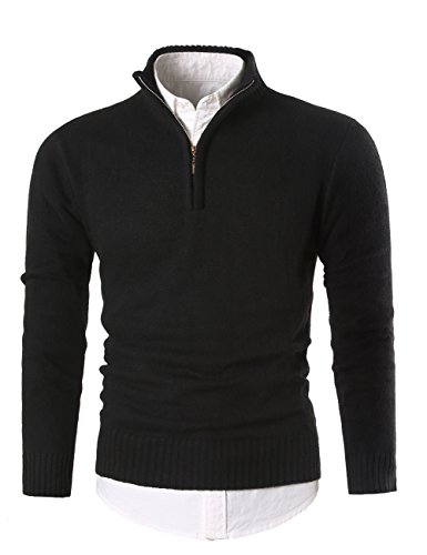 (MIEDEON Mens Slim Fit Zip Up Mock Neck Polo Sweater Casual Long Sleeve Sweater and Pullover Sweaters with Ribbing Edge (Black, L))