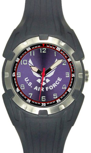 Aqua Force US Air Force Logo Analog Quartz Watch, Black (Watch 56d)