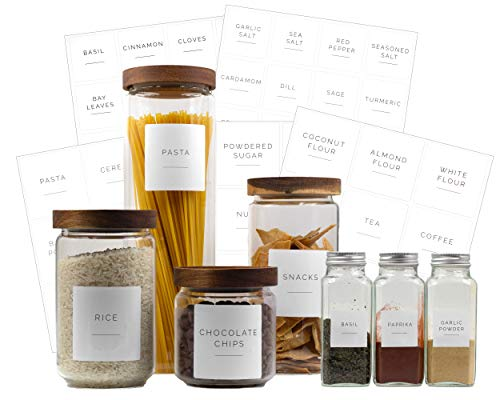 Brook & Meadow Kitchen Pantry Labels & Spice Labels- (75 Labels) 48 Spice Jar Labels & 27 Labels for Food Containers…