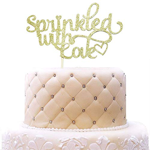 WoHappy Sprinkled with Love Cake Topper for Baby Shower, Wedding, Birthday Party Decorations Gold Glitter -