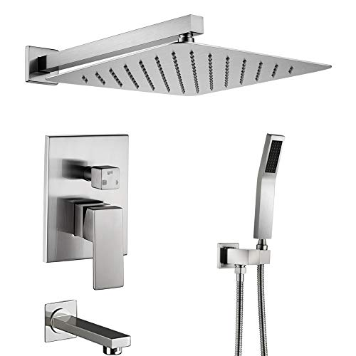 STARBATH SS03FN Shower System, Shower Faucet Set with Tub Spout Wall Mounted Shower Combo Set with 10 Inch Shower Head and Handheld, Shower Faucet Rough-in Mixer Valve, Brushed ()