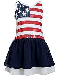 Big Girls' Red White Blue Sequin American Flag Dress