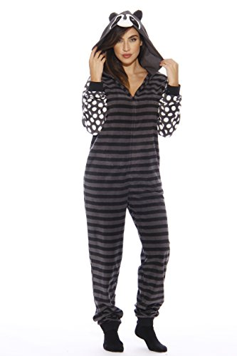 L6400-S-Raccoon #FollowMe Adult Onesie/Adult Pajamas