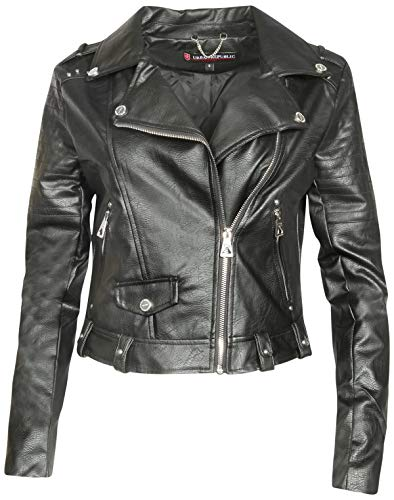 Urban Republic Women Faux Leather Moto Biker Jacket with Studded Detailing, Black, Large'