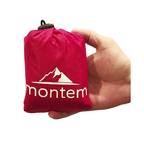 Montem Outdoor Gear Soft, Lightweight and Waterproof Camping Large (55-Inch-by-60-Inch) Pocket Blanket, Red
