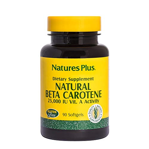 Natures Plus Natural Beta Carotene - 25,000 IU Vitamin A & Vitamin E, 90 Softgels - Eye Supplement, Antioxidant, Aids in Free Radical & Natural Cellular Defense - Gluten Free - 90 Servings Beta Carotene Softgels Antioxidant Vitamins