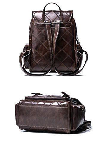 VM FASHION KISS Zipper&hasp Casual Crazy Horse Genuine Leather Backpack vintage Bag by VM FASHION KISS (Image #3)'