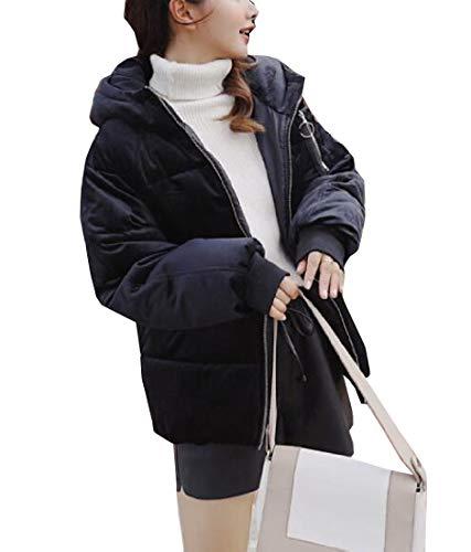 Black EKU Hoodie Style Puffer Padded Womens Bread Coat Jacket Down 55nqzwr