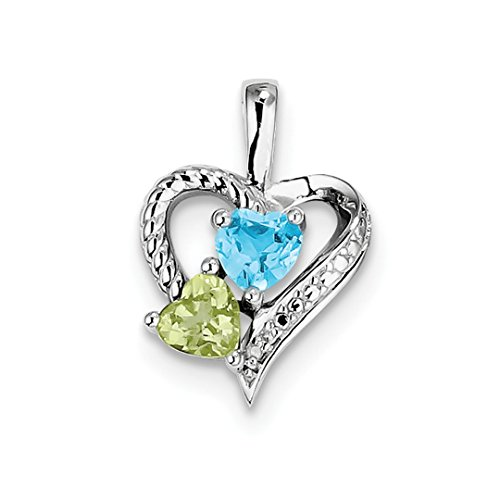 Peridot Topaz Jewelry Set (ICE CARATS 925 Sterling Silver Blue Topaz Green Peridot Diamond Pendant Charm Necklace Gemstone Fine Jewelry Ideal Gifts For Women Gift Set From Heart)