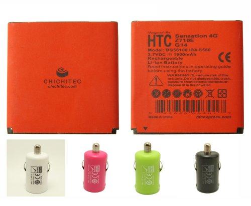 CHICHITEC T-mobile AT&T HTC Sensation 4G Cellphone 1900 mAh Battery Slim Design Longer life than OEM also for G14 Z710E BG58100 BA S560 +FREE 2.1A Rapid Car Charger (Tmobile Sensation Battery)