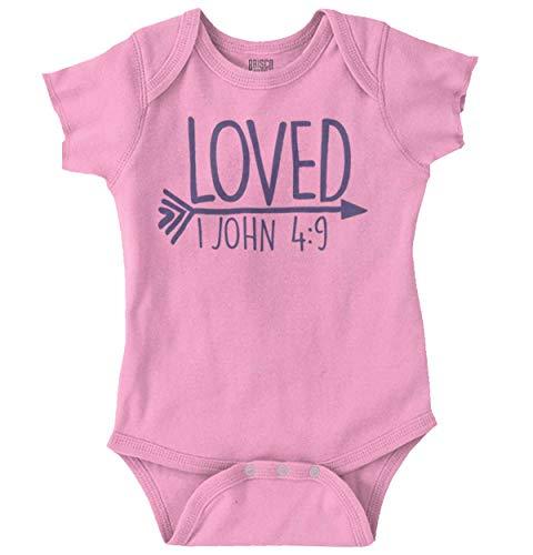 Brisco Brands Loved Bible Verse Christian New Baby Gift Romper Bodysuit Pink
