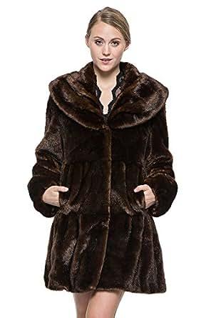 Adelaqueen Women's Vintage Dark Brown Style Luxury Faux Fur Coat with Lotus Ruffle Collar XL