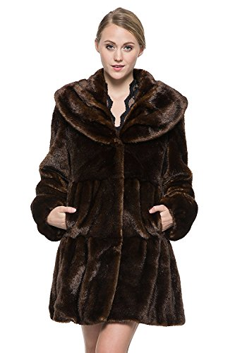 Adelaqueen Women Vintage Dark Brown Style Luxury Faux Fur Coat with Lotus Ruffle Collar XS